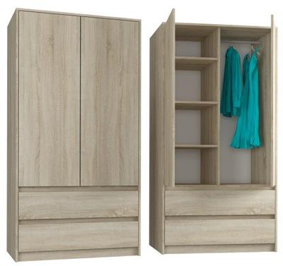 шкаф гардероб 90см 2d 2sz сонома B -9