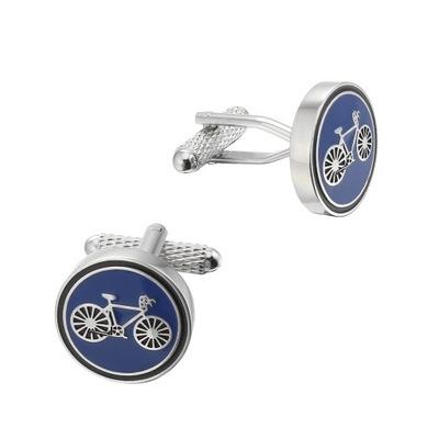 Spinki do mankietów Rower niebieski dla Rowerzysty