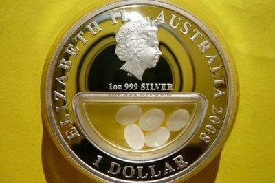 1 $ АВСТРАЛИЯ 2008-ОПАЛЫ СОКРОВИЩА АВСТРАЛИИ-Ag 999-Оз