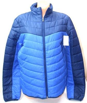 Wygodna niebieska pikowana kurtka przejściowa S
