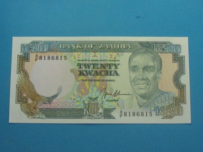 Замбия Банкнота 20 Квач 1989/1991 UNC P-32b