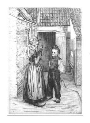Открытка - Бетси van Manen, На заднем дворе / детей