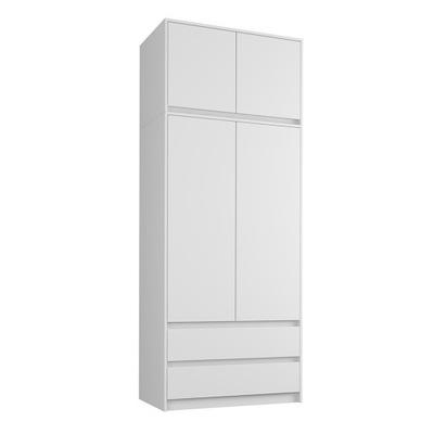 шкаф гардероб 90см 2d 2sz белая + надставка B -9N