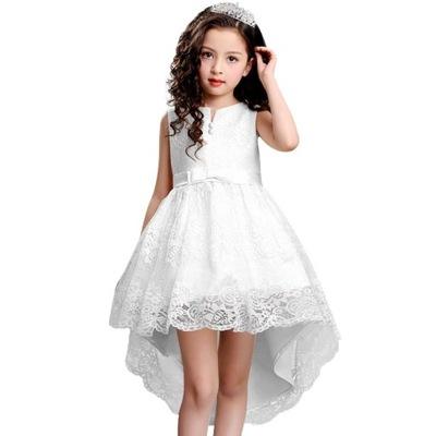 13bfd4da34 Biała sukienka z trenem i perełkami 116-122 - 5138397991 - oficjalne ...