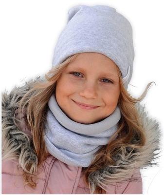 CZAPKA+KOMIN N44 Ciepły komplet zimowy WEŁNA 54 56