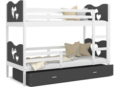 Poschodové postele 190x80 MAX white grey + matrac
