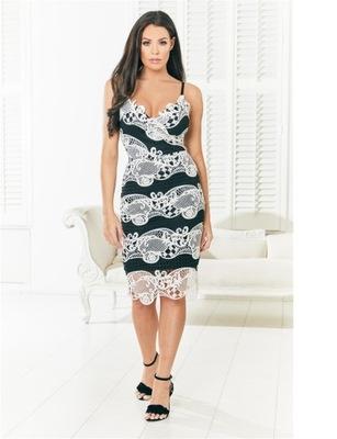 JESSICA WRIGHT Czarno biała sukienka maxi (46)
