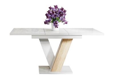 стол раскладной 120-160 Белый блеск сонома +