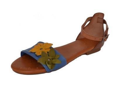 Brązowo białe damskie skórzane sandały (POR2405)