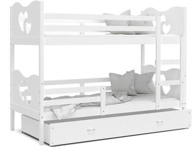 MAX poschodová posteľ 160x80 biela biela + matrac