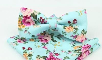 Piękna MUCHA i POSZETKA miętowa w kolorowe kwiat