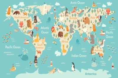 Настенные фрески для детей карта мира 137 ОБРАЗЦОВ