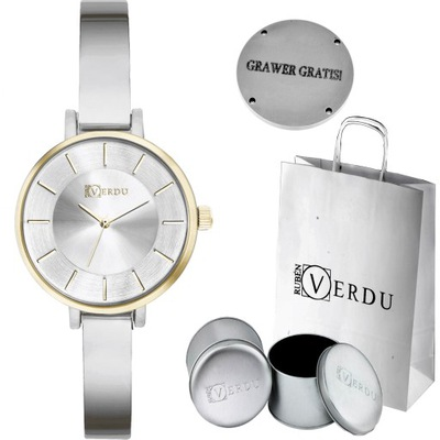 Elegancki złoty zegarek damski bransoleta Grawer