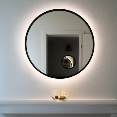 VEĽKÉ Kulaté zrkadlo S ČIERNYM RÁMOM 100 cm, LED