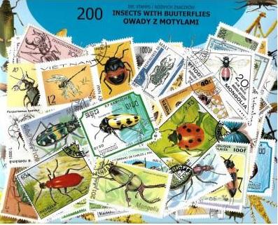 Zestaw 200 znaczków pocztowych - OWADY Z MOTYLAMI