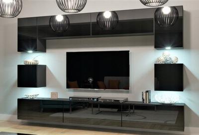 Стенка NOWARA N1 Салон LED Черный блеск 1А