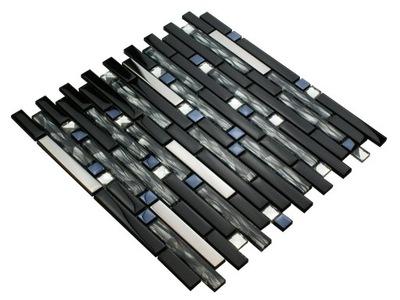 Мозаика стеклянная черно серебряная BLACK CRYSTAL