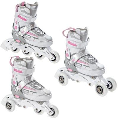 Roller Wrotki 3v1 RAVEN Profession White / Pink 38-42