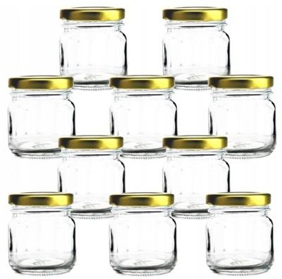 Słoiczki szklane 40ml 10szt słoik zakrętki złote