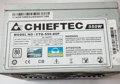 Zasilacz ATX CHIEFTEC CTG-550-80P 550W USZKODZONY