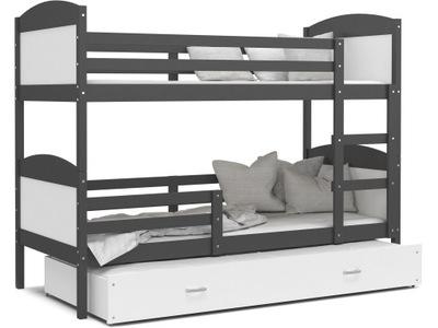 Poschodová posteľ evanjelium podľa MATÚŠA 3 sivá biela 190x80