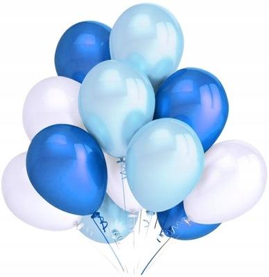 Balony Średnie Mix Niebieski Biały 40 Sztuk