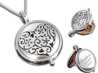 Srebrny otwierany medalion + łańcuszek, grawer
