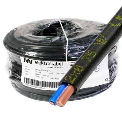 OMYp DRÔT 2x0,75 CU Drôt 100m, ploché, čierna