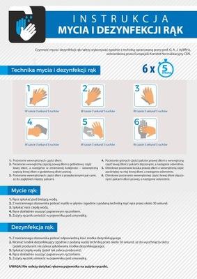 Instrukcja mycia rąk i dezynfekcji rąk A4 laminat