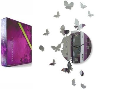 современный большой, тихий часы настенный бабочки зеркало