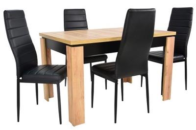 современный комплект стол ???  4 черные стулья