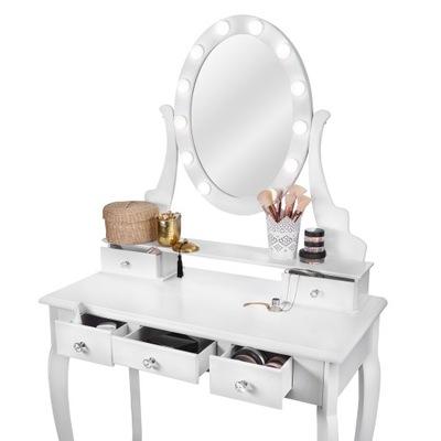 ТУАЛЕТНЫЙ столик и КОСМЕТИЧЕСКОЕ ? зеркалом LED белая + Табурет