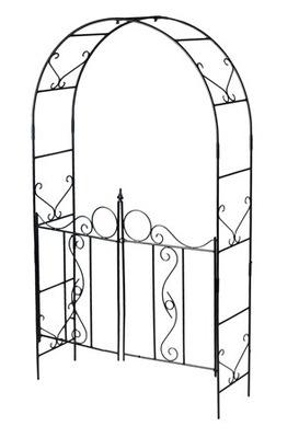 Pergola metalowa ogrodowa z furtką P2, łuk różany