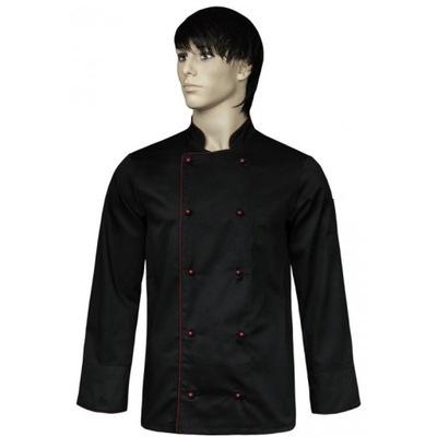 Kitel kucharski czarny,lamówka bordo, ręk. dł. XXL