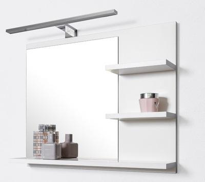 белое зеркало ??? ванной 3 полками, лампа LED