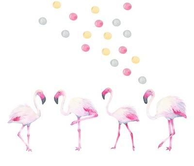 Flamingos BODY NÁLEPKY NA STENU PRE DETI
