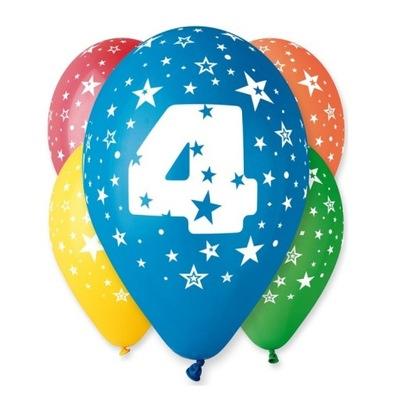 Воздушные шары на день Рождения с рисунком -Циферка № 4 - 5  штук .
