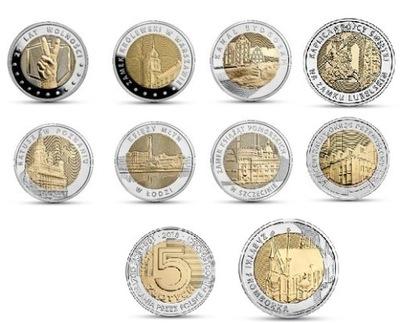 5  - комплект 11 монеты серии Откройте ??? Себя Польшу