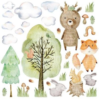 Samolepky na stenu lesné zvieratá, LESNÉ II