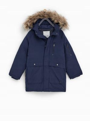 zara puchowa kurtka parka płaszcz zima czarna 110