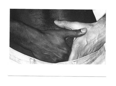 Pocztówka- Zaproszenie / czarna i biała męska dłoń