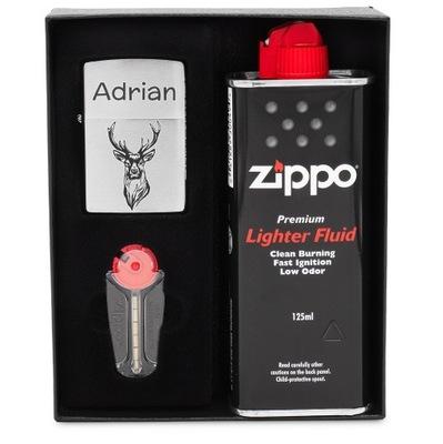 Зажигалка ZIPPO 200 Chrome ? гравировкой комплект