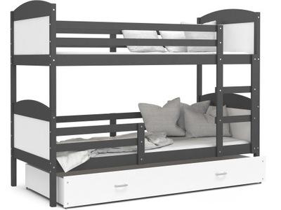 Poschodová posteľ MATÚŠ šedá biela 160x80