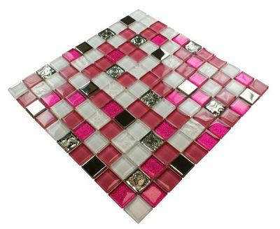 Мозаика стекло розовая , серебряная, белая РОСАЛИИ