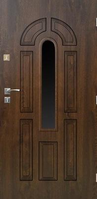 Drzwi zewnętrzne Lotos 01 przeszklone orzech 90