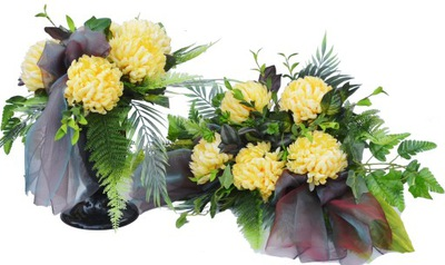 Chryzantéma Kytice, kvety na Hrob Headstone
