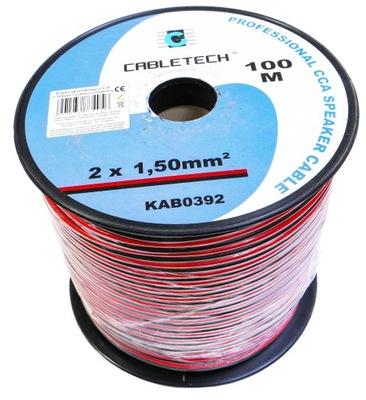 Kábel reproduktora 2x1. 5 mm 100m led black Jún