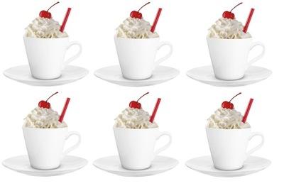 комплект 6 белых чашек Мая 200 мл и 6 тарелки