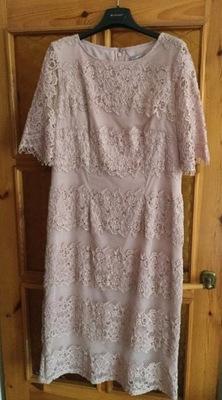 sukienka per una marks&spence pudrowa eleganck
