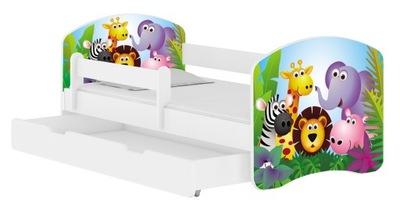 Detská posteľ 140x70 matrac BIELA zásuvka ACMA